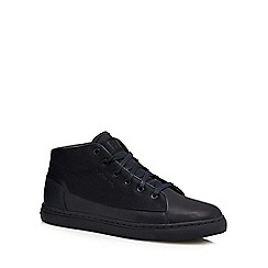 G-Star Raw - Navy blue leather lace up high top trainers