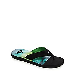 Quiksilver - Black and green quilted flip flops