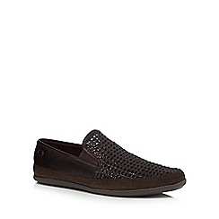 Base London - Brown leather 'Stage' slip on shoes