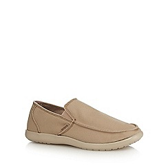 Crocs - Beige textured 'Santa Cruz' slip-on shoes