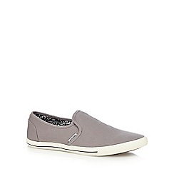 Jack & Jones - Grey canvas 'Snake' slip-on trainers