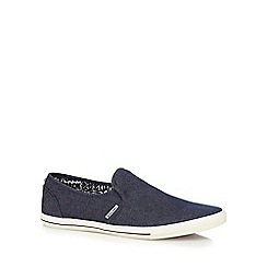 Jack & Jones - Navy canvas 'Snake' slip-on trainers