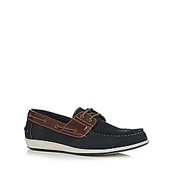 Lotus Since 1759 - Navy suede 'Lawson' boat shoes
