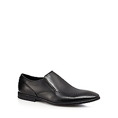 Clarks - Black leather 'Brampton' slip-on shoes
