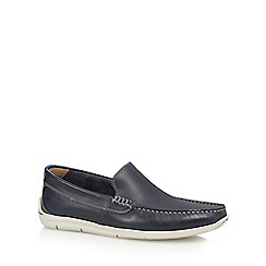Clarks - Navy leather 'Karlock Lane' slip-on shoes