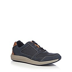 Clarks - Navy leather 'Sirtis Mix' trainers