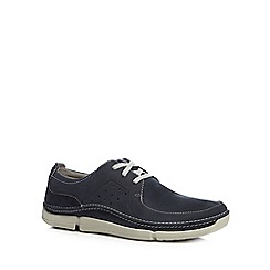 Clarks - Navy leather 'Trikeyon Fly' shoes