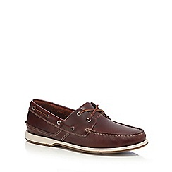 Clarks - Brown leather 'Fulmen Row' boat shoes