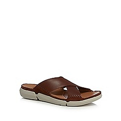 Clarks - Dark tan leather 'Trisande' sandals