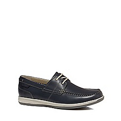 Clarks - Navy leather 'Fallston' boat shoes