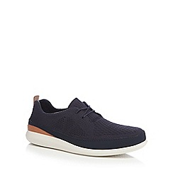 Clarks - Navy textured 'Pitman' trainers