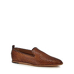 H By Hudson - Tan leather 'Ipanema' woven slip-on shoes