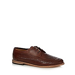 H By Hudson - Tan leather 'Anfa' woven trim lace up shoes