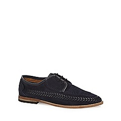 H By Hudson - Navy suede 'Anfa' woven trim lace up shoes