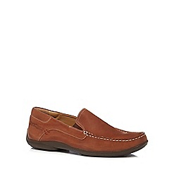 Hush Puppies - Brown leather 'Kyler Glide' slip-on shoes