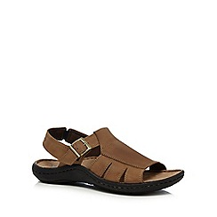 Hush Puppies - Brown leather 'August Santomule' sandals