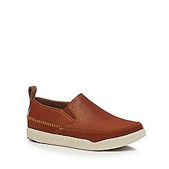 Hush Puppies - Tan leather 'Lazy Genius' slip-on shoes