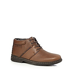 Hush Puppies - Brown leather 'Hanston' chukka boots