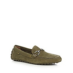 Hush Puppies - Green suede 'Longin Terveen' slip-on shoes