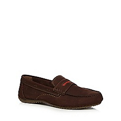 Hush Puppies - Brown suede 'Royan' slip-on shoes