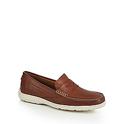 Rockport - Brown leather 'Total Motion' penny loafers