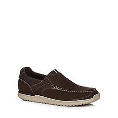 Rockport - Brown suede slip-on shoes
