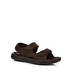 Rockport - Dark brown leather rip tape sandals