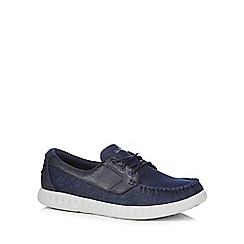 Skechers - Navy two-tone boat casual shoes