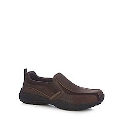 Skechers - Brown leather 'Lanson Berto' slip on shoes