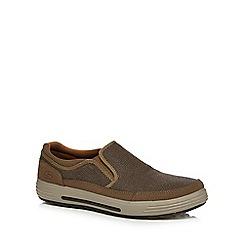 Skechers - Brown 'Poryer Vesco' textured slip-on trainers