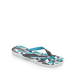 Ipanema - Blue and white cube print flip flops