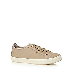 Kickers - Taupe 'Tovni' lace up canvas trainers