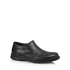 Hush Puppies - Black leather 'Alan Hanston' slip-on shoes