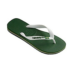 Havaianas - Green and white Brasil logo flip flops