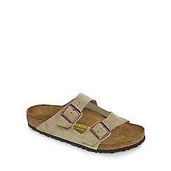 Birkenstock - Taupe suede 'Arizona' double strap sandals