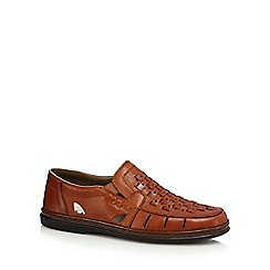 Rieker - Tan leather basket weave slip-on shoes