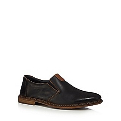 Rieker - Dark brown leather slip-on shoes