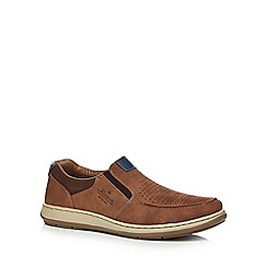 Rieker - Brown leather slip-on trainers