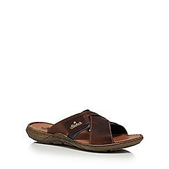 Rieker - Brown leather slip-on sandals
