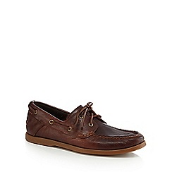 Timberland - Brown leather 'Heritage' boat shoes
