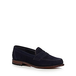 Loake - Navy suede 'Eton' penny loafers