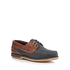Loake - Navy nubuck leather boat shoes