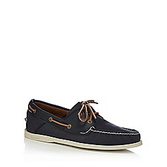 Timberland - Navy leather 'Heritage' boat shoes