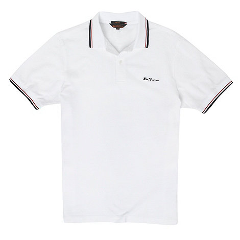 Ben Sherman - White tipped pique polo shirt