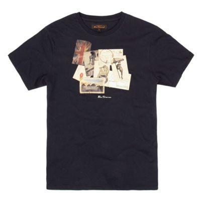 Navy vintage print t-shirt
