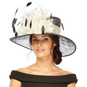 Debut Black and ivory floral trumpet hat