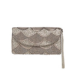 Debut - Grey beaded scalloped clutch bag