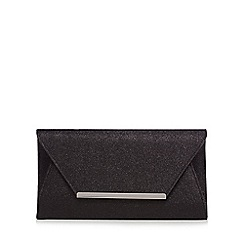 Debut - Black glitter envelope clutch bag