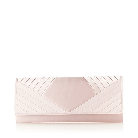Debut - Pale pink pleated corner clutch bag