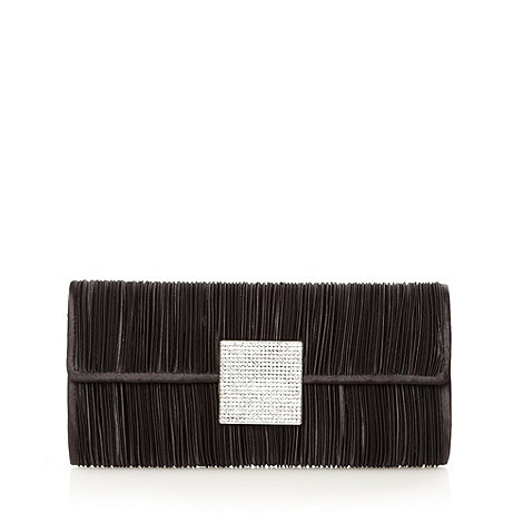 Debut - Black diamante square ruched clutch bag